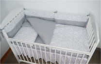 Dvostranska 3-delna posteljnina BELA SIVE mini zvezdice - SIVA 120x90 cm Largo