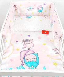 Roza in vijolična 3-delna posteljnina SOVICE SWEET DREAMS 120x90 cm