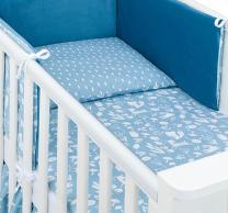 2-delan posteljnina modra gozd