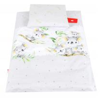 Siva 2-delna posteljnina za zibko KOALA