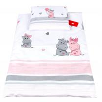 Bela 2-delna posteljnina za zibko ROZA HIPPO 60x75cm