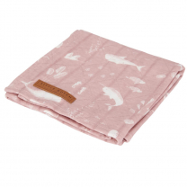 Roza swaddle odejica 120 x 120 cm - Ocean Pink, Little Dutch