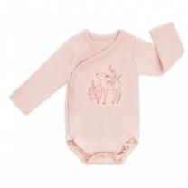 Pudrasto roza otroški body na preklop z dolgimi rokavi SOFT & NATURAL (56 cm), ColorStories