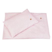 Pudrasto roza 2-delna posteljnina BELE PIKE NEPRAVILNIH OBLIK 60x75 cm, Largo