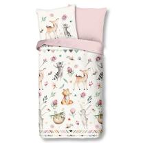 Roza otroška posteljnina PLES ŽIVALI 140x200/220 cm, Good Morning (6779)