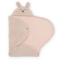 Roza odeja za lupinico ZAJČEK Pale Pink, 100x105 cm, Jollein