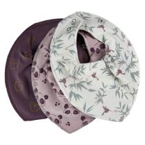 Bordo vijolična rutka-slinček – srčki, kolibri in pande (3 kosi), Pippi®
