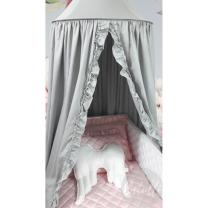 SVETLO SIV baldahin ali šotor z volančki Betulli