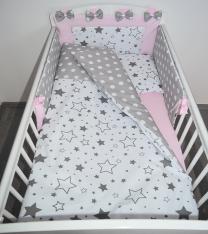 Dvostranska 3-delna posteljnina BELA sive male in velike zvezde SIVA bele pike - ROZA 120x90 cm Largo