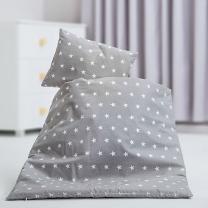 Siva 2-delna posteljnina za zibko BELE ZVEZDICE 50x70cm