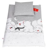 Siva 2-delna posteljnina za zibko SEVERNI MEDVEDI 60x75 cm