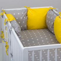 Živo rumena 3-delna posteljnina SIVA ZVEZDICE 120x90 cm, Balbina