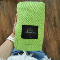 Svetlo zelena bambusova pletena odeja MAKRON LULLALOVE 80x100 cm