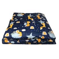 Temno modra posteljnina lisičke 120x150