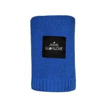 Temno modra bambusova pletena odeja LULLALOVE 80x100 cm