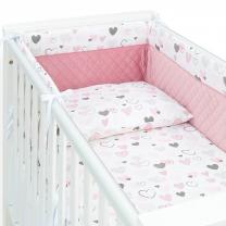 PUDRASTO ROZA 3-delna posteljnina SRČKI 120x90 cm, MAMO-TATO