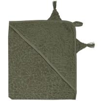 Vojaško zelena brisača s kapuco iz organskega bombaža UŠESKA, Pippi
