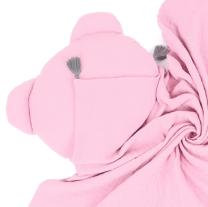 Pudrasto roza vzglavnik in odeja iz muslina, MAMO-TATO