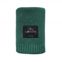 Zelena bambusova pletena odeja LULLALOVE 80x100 cm