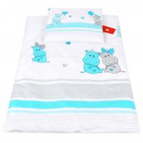 Bela 2-delna posteljnina za zibko TURKIZEN HIPPO 60x75cm